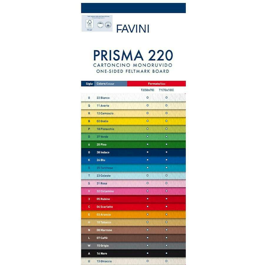 Cartoncino MONORUVIDO Colorato cm35X50 PRISMA gr220