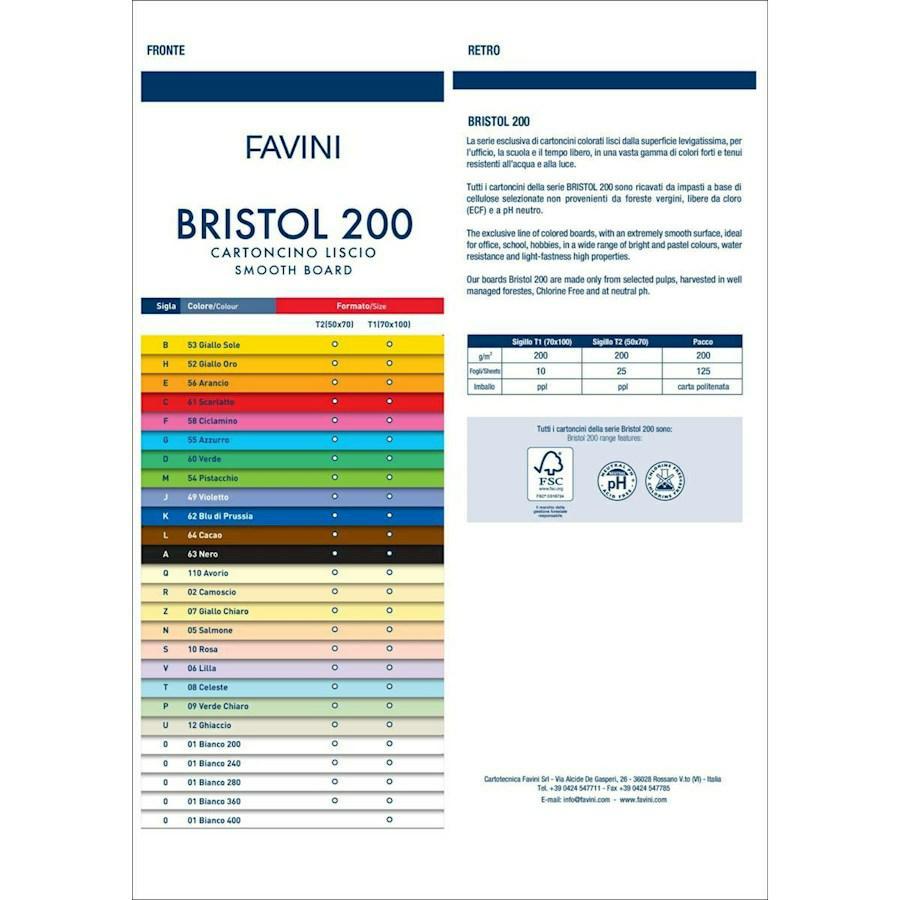 Cartoncino BRISTOL Liscio Colorato cm70x100 gr200