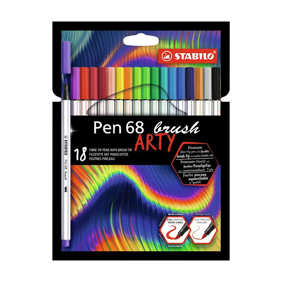 "STABILO PEN 68 BRUSH PZ18 AST.CARTONE ""ARTY"""
