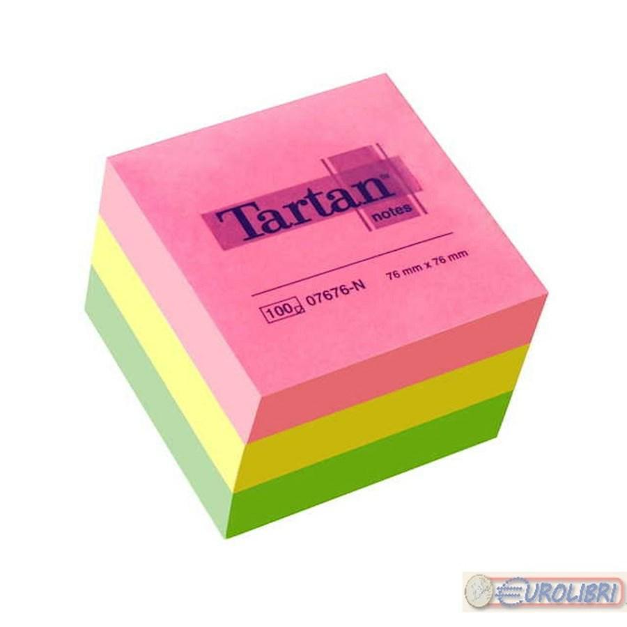 POST-IT CUBO TARTAN NEON 76X76