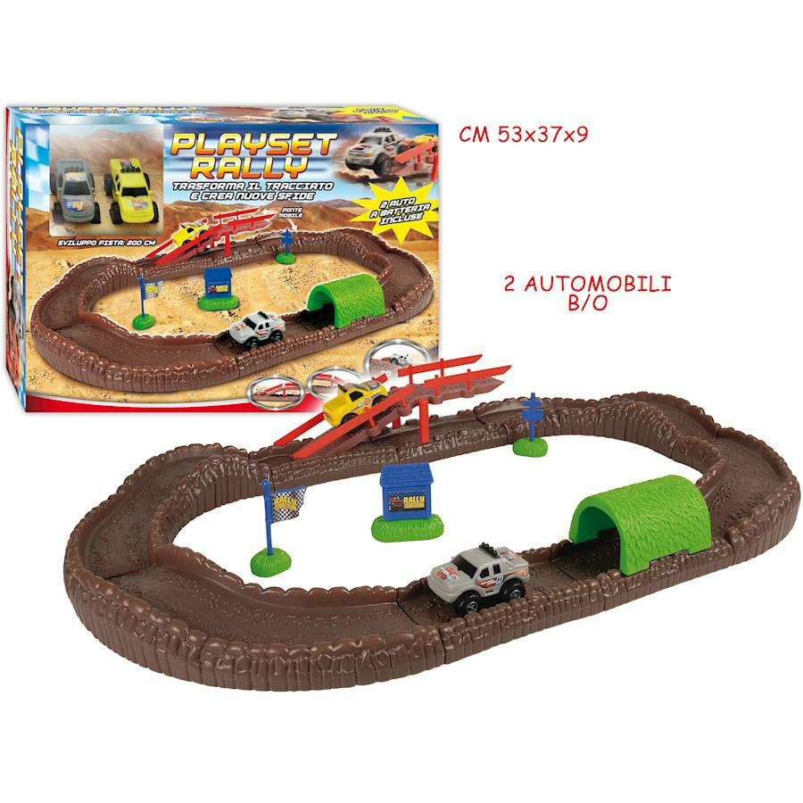PLAYSET RALLY CON 2 MACCHININE E ACCESSORI